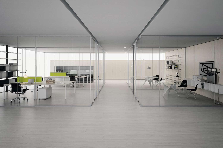 pareti mobili vetro